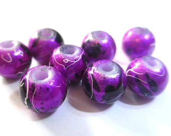 10 shiny speckled and wire 8mm beads