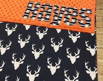Deer minky blanket, Deerhead minky blanket, Minky Blanket, Personalized Minky Blanket, Minky Name Blanket