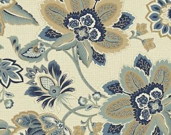 ISADORA by Rosemarie Lavin for Windham Fabrics - 42055-3 Cream and Navy - 100% Premium Fabric