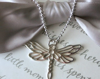 Dragonfly pendant necklace Sterling Silver openwork