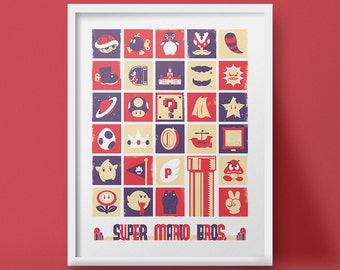 Super Mario, Nintendo, Video Game, Poster, Art Print, Poster