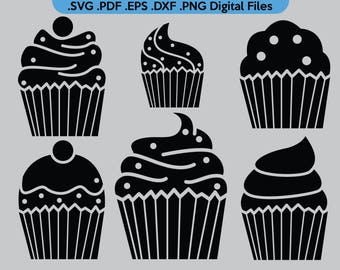 6 Cupcake Silhouette | .SVG .PDF .EPS .dxf .png | Digital files cupcake small pastry