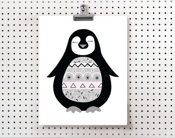 Black and White Penguin, Digital Prints, Hand Drawn Prints, Instant Download, Nursery Prints, Printable, Penguin, Wall art, Wall prints
