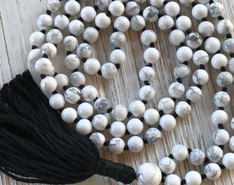 Knotted mala necklace- Howlite mala- Tassel necklace