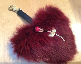 Heart jewelry handbag charm handbag, Keychain fur rabbit red and black out, Valentine gift