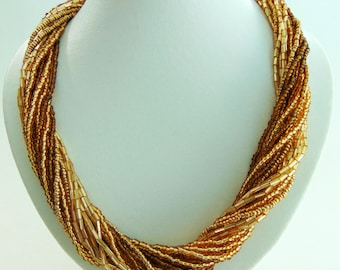Indian Summer Bugle Bead Crochet Rope Necklace | Crochet Necklace | Rope Necklace | Beaded Necklace