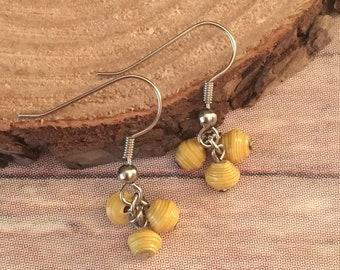 Yellow Earrings - Cluster Earrings - Paper Bead Earrings - Paper Bead Jewelry - Women Earrings - Women Jewelry - Bohemian Earrings