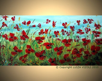 Abstract 72x36 FLOWERS Palette Knife Oil Painting Large HUGE Canvas Art by Luiza Vizoli