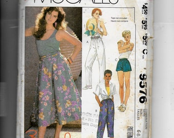 McCall's Misses' Pants or Shorts and Skirt  Pattern 9576