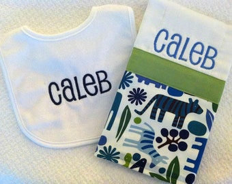 Baby Boy's Personalized bib and burp cloth set, Safari Theme