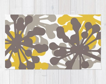 Contemporary Black And White Tree Branches Area Rug Modern