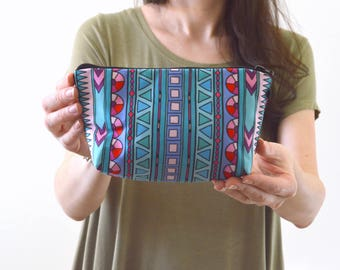"Aztec Tribal Boho Print Zippered Cosmetic Bag, Organizer Bag, Make-up Bag, Toiletry Bag, Pouch - 8"" x 5.5"""