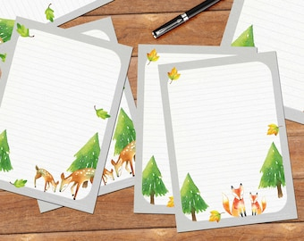 Woodland set - DOWNLOAD files - printable writing paper - 10 different designs - lined and unlined - A5 size