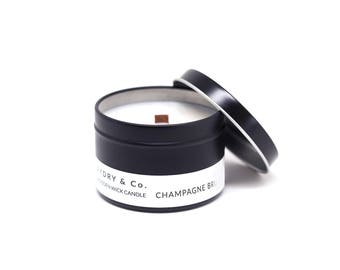 Mini Champagne Brunch Wooden Wick Tin Candle