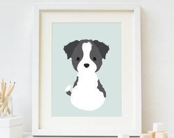 Border Collie Nursery Art, Dog Print, Printable Digital Download, Dog Lover Gift, Puppy Kids Wall Art,  Boy Nursery Decor, Baby Shower Gift