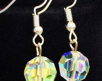 Medium or Large Faceted AB Crystal Earrings