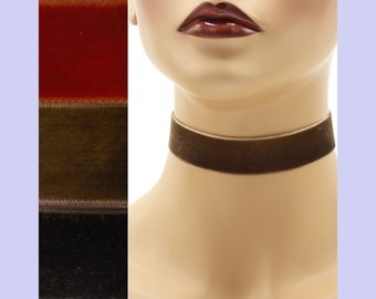 Brown Velvet Choker 7/8 inch wide Custom made Your Length and Color shade (approximate width 0.875 inches;  22 - 23 mm) rust chocolate dark