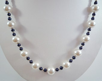 Pearl Necklace Blue White Pearl Necklace Swarovski Pearl Necklace White Blue Pearl Necklace Pearl Sterling Necklace Beaded Pearl Strand