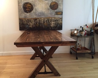 Farmhouse Table with Trestle Base | Solid Wood Trestle Table | Pedestal Base | Farmhouse Kitchen Table | Built to Order