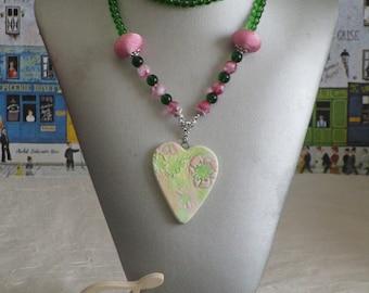 """Ravissant collier en perles et céramique """"Shabby chic"""""""
