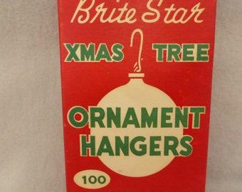Vintage Mid Century Box of Brite Star Christmas Tree Ornament Hangers