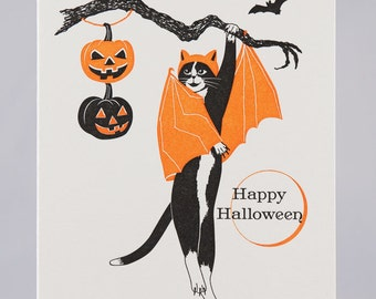 Letterpress Happy Halloween Bat Cat Card