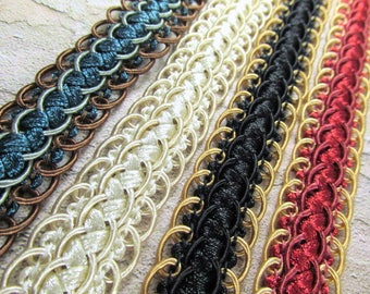Nice 3/4 Inch Scalloped Braided Decorator Gimp Trim in Red Gold, Black Gold, Blue Teal Aqua and Brown, or Ivory