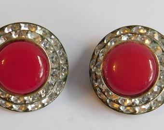 Vintage Estate Lisner Red Cobochon Rhinestone Studded Clip On Earrings