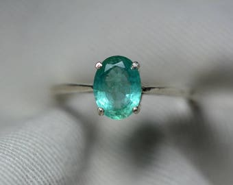Emerald Ring, Real Emerald Solitaire Ring 1.19 Carats Appraised At 357.00, Sterling Silver Genuine Emerald Jewellery, Size 7, Oval Cut