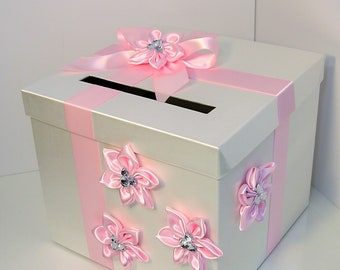 Wedding Card Box Ivory and Light Pink Gift Card Box Money Box  Holder--Customize your color