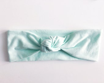 Light Blue Top Knot Headband / Knotted Headband / Baby Turban / Baby Gift / Toddler Headband / Macie and Me / Adult Headband