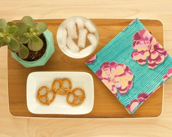 Succulent Cloth Napkins in Turquoise and Purple