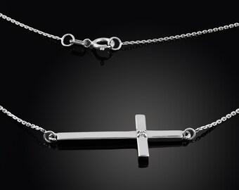 Silver Sideways Cross Diamond Necklace .925 Solid Sterling Silver Sideways Cross Diamond Necklace