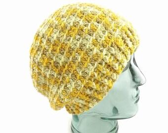 Slouchy Hat, Crochet Hat, Wool Beanie, Yellow Toque, Organic Hat, Winter Beanie, Woolly Hat, Warm Beanie, Adult Winter hat, Hippie Hat, Boho