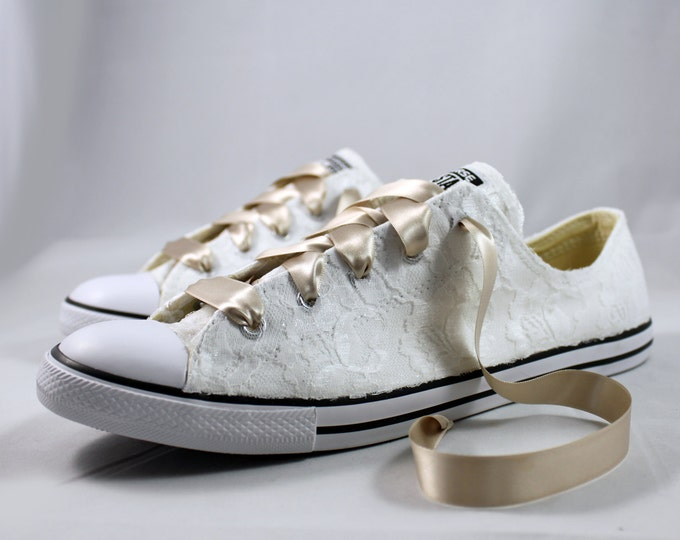 Featured listing image: Wedding Converse - Bridal Converses --Lace Converse -- Wedding Tennis shoes