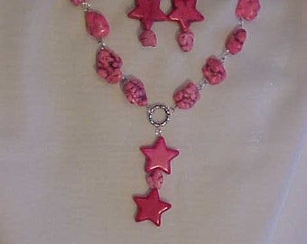 GENUINE HOWLITE NECKLACE~Howlite Nuggets & Stars Dyed Pink~Matching Howlite Earrings for Pierced Ears~Bold, Statement Necklace-Earrings