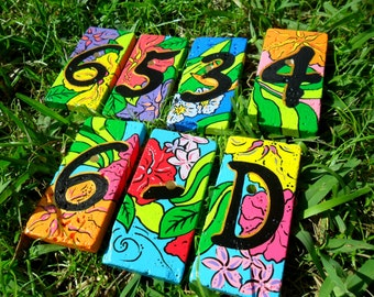 house numbers address tiles PETITE TROPICAL