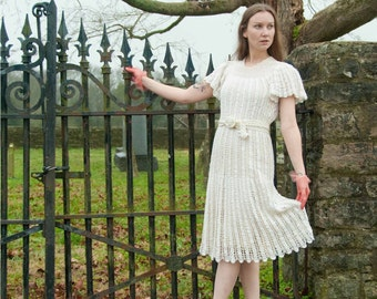 RESERVED 30s Dress - Crochet Dress - Antique Lace Dress - Midi Dress - Summer Fashion - Wedding Dress - White Dress - 6 8 S M