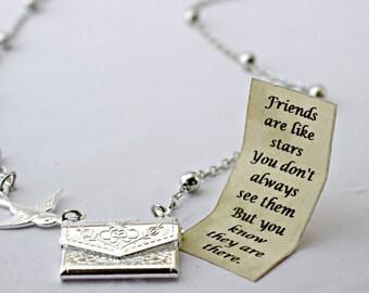Letter Locket Necklace, Friends are Like Stars Envelope Necklace, Friendship Necklace, Silver Personalized Necklace, Secret Message