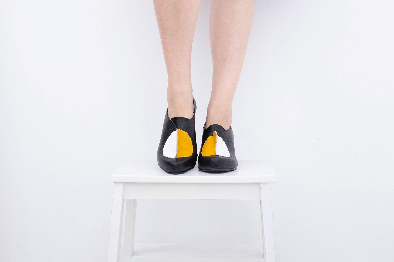 Cuir Chaussures Bloc Des Noir Les vwAqzfxn Funky Femmes Talon HqgnwxnTA5
