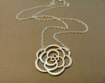 Rose Necklace - Rose Flower Jewelry - Rose Pendant - Rose Jewelry - Silver Rose - Rhodium Plated Rose