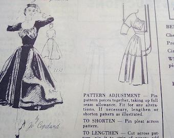 Vintage 1950's Spadea 1152 American Designer Jo Copeland Evening Dress Sewing Pattern Size 12 Bust 35