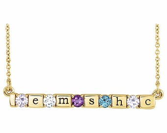 1 to 5 Birthstone and Engraving Family Pendant, 14K Rose, White, or Yellow Gold, Custom-Made Family Necklace, Mother's Day Pendant Necklace
