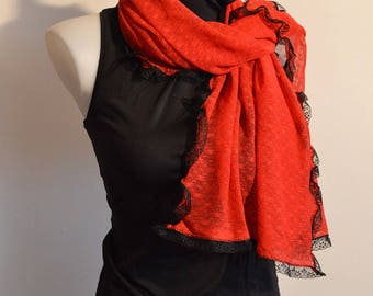 red scarf with lace