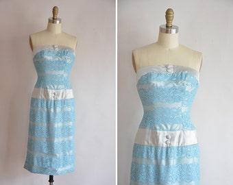 50s Lou-Ette dress/ vintage 1950s lace & satin dress/ vintage bombshell wiggle dress