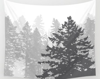 Forest Trees Wall Tapestry / Gray and Cream Modern Trees Printed Wall Tapestry / Woodland Nature Wall Art / Pine Trees Art / Aldari Home