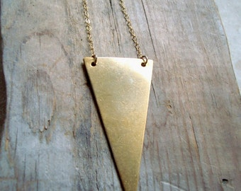 Large Brass Triangle Necklace Geometric Modern Minimalist Simple Gifts Under 40 Brass Jewelry Gold Gifts For Her Chain Necklace