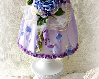 Vintage Lamp in Lavenders, Blue and Purples ~  Hydrangea Lamp with Lampshade, Floral Lampshade, Up-cycled Vintage Lamp. Springtime Lamp
