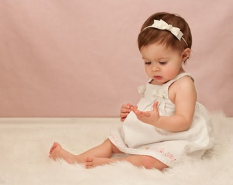Baby Headband - ivory headband - toddler headband - baptism bow headband - newborn headband - infant headband - elastic baby headband girls