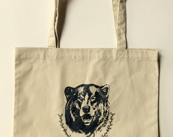 Bear Tote Bag, Camping Tote, Market Tote, Reusable Bag